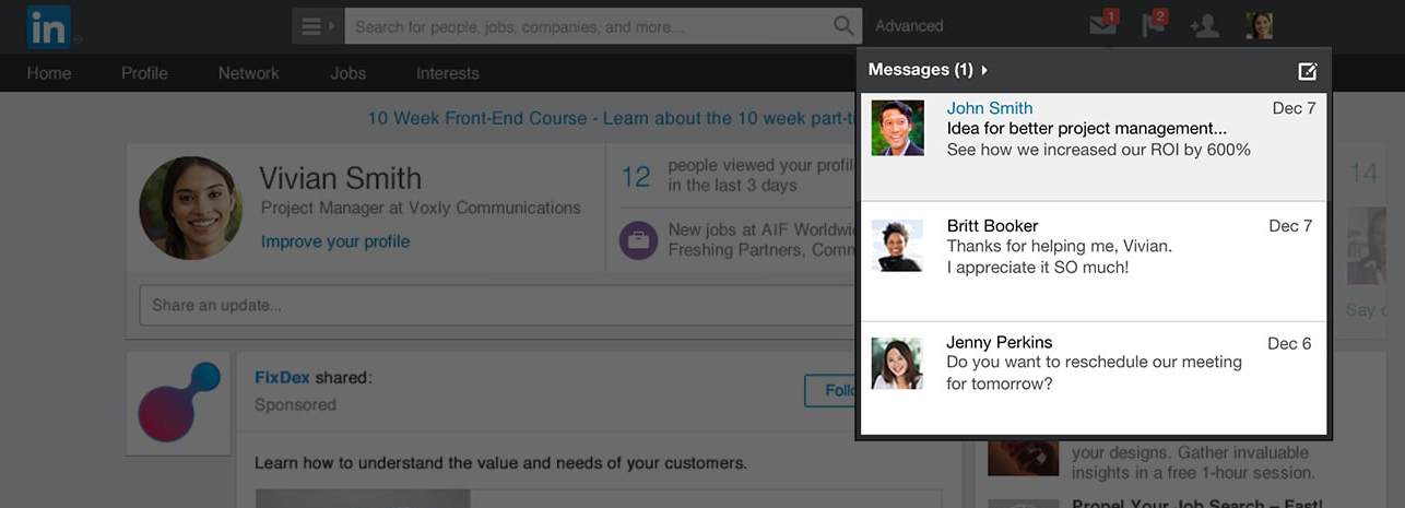 LinkedIn sponsored InMail message